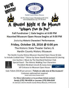 october 28 2016 600 pm to 900 pm at hardin county ky history museum - Halloween Events In Louisville Ky