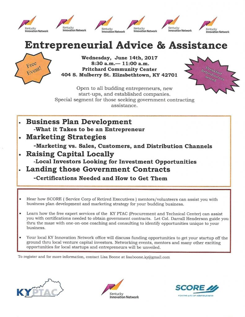 Entrepreneurial Advice & Assistance Flyer