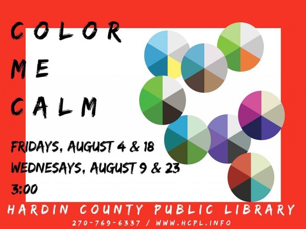 Aug 4,9,18,23 Color Me Calm